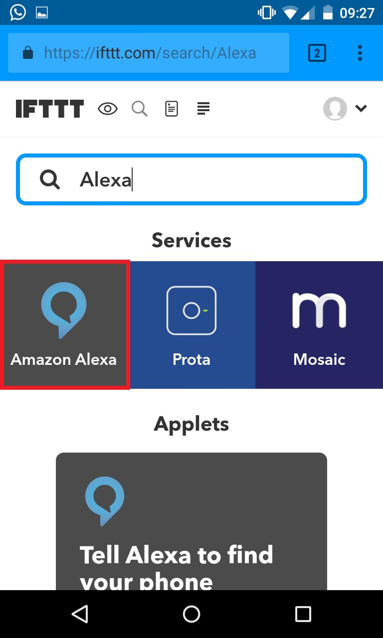 Schritt 2: Alexa IFTTT Applet aktivieren