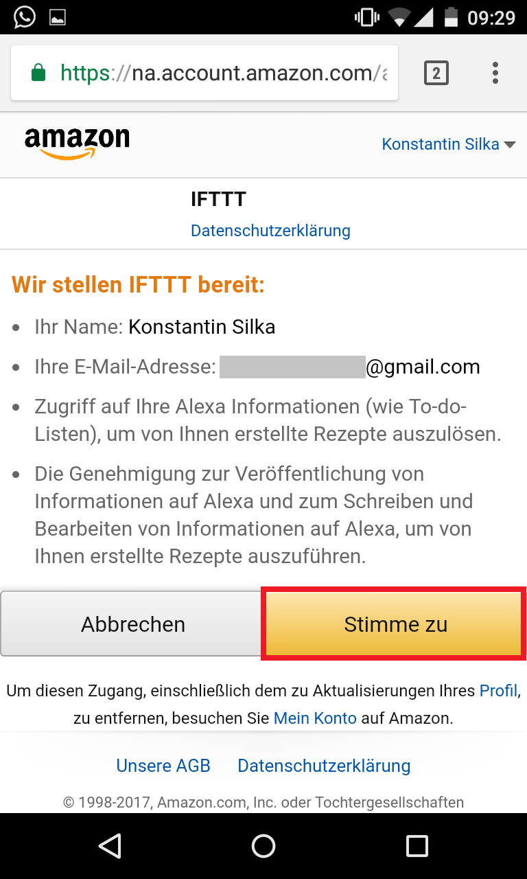 Schritt 5: Alexa IFTTT Applet aktivieren