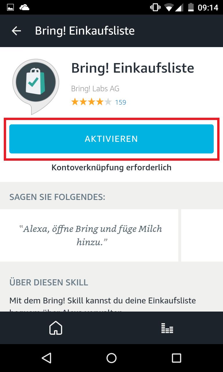 Schritt 3: Bring! Einkaufsliste mit Alexa verknüpfen