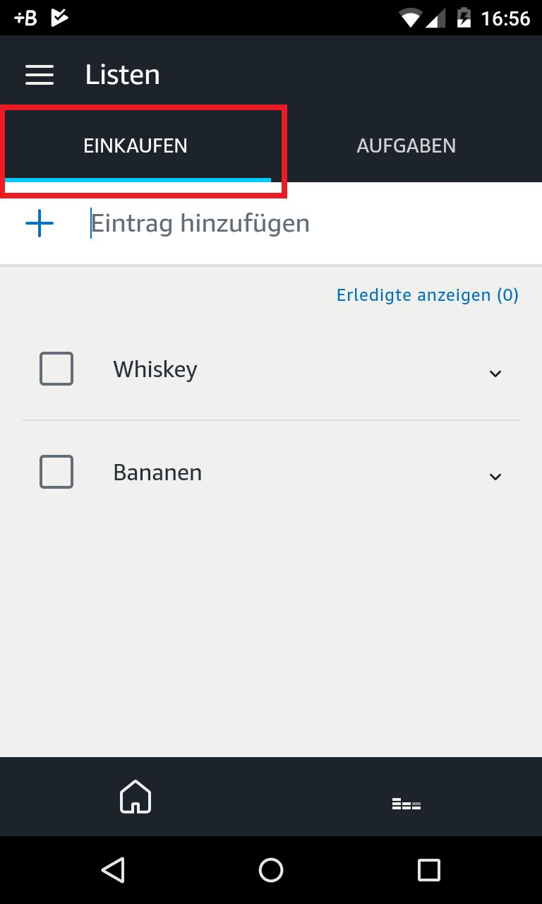Schritt 2: Alexa Einkaufsliste erstellen