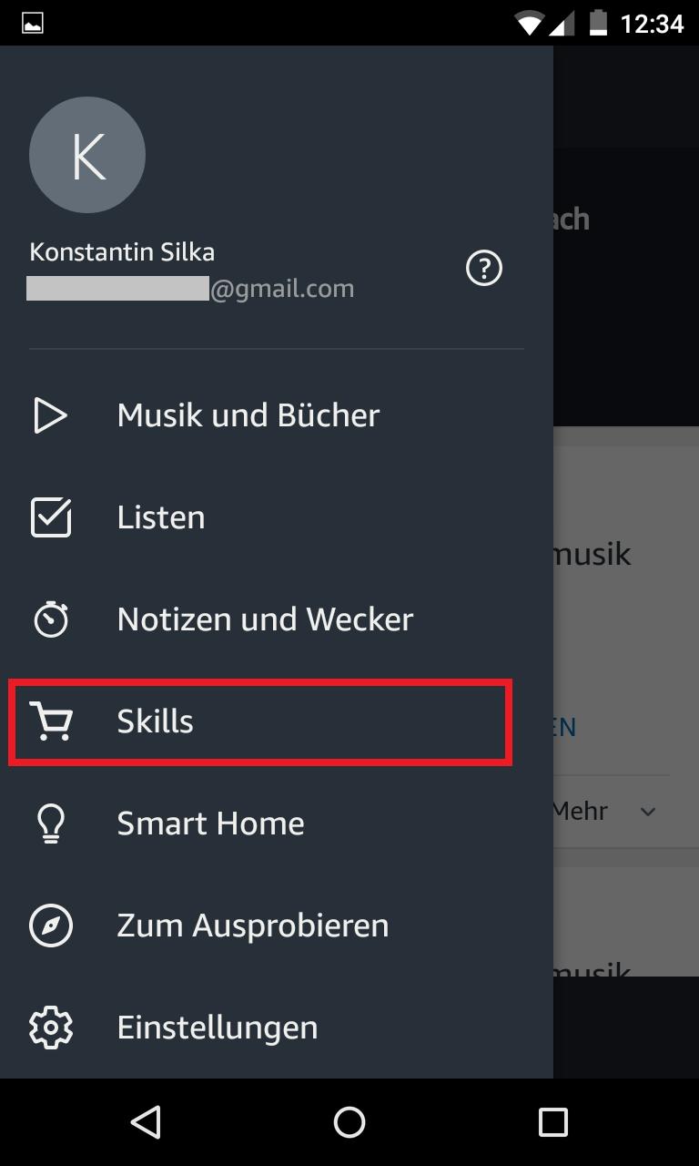Schritt 1: Alexa Skills aktivieren