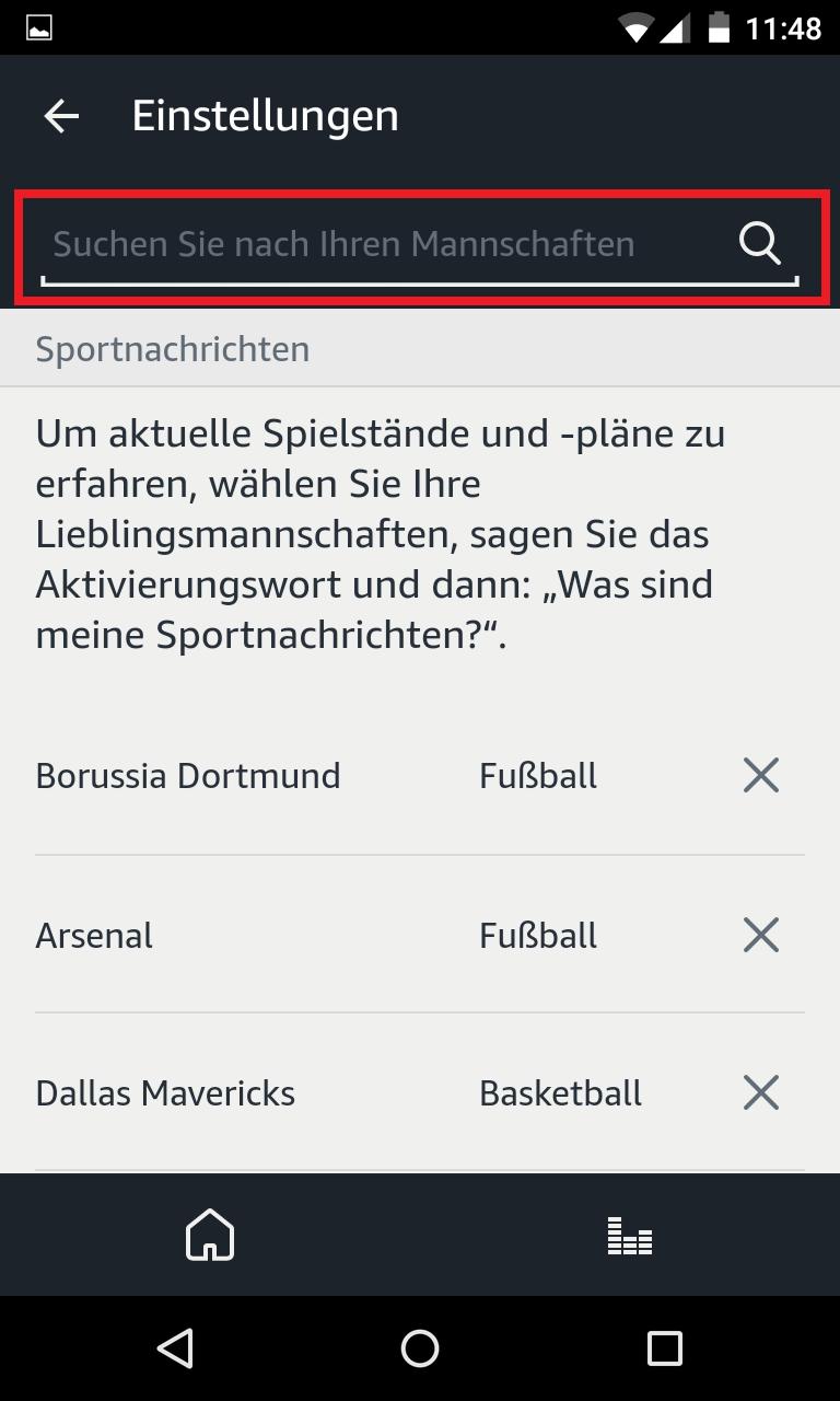 Schritt 3: Alexa Sportnachrichten anhören