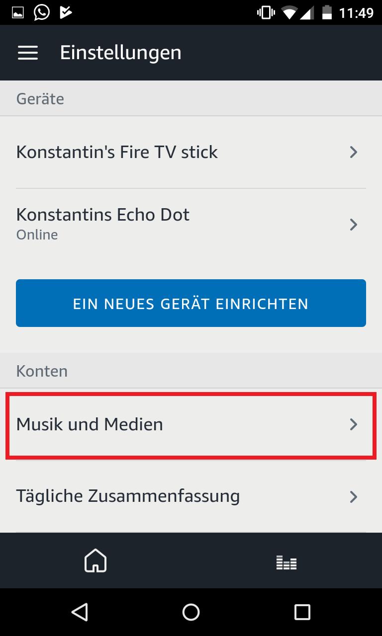 Schritt 2: Alexa bevorzugten Musikdienst festlegen