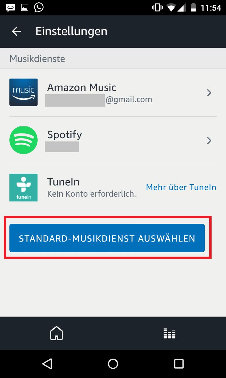 Schritt 3: Alexa bevorzugten Musikdienst festlegen
