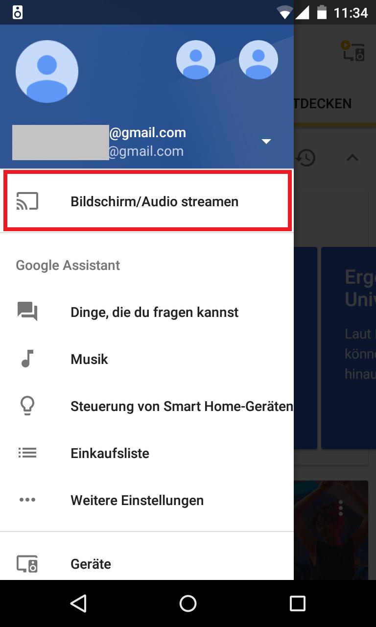 Schritt 1: Audiostreaming auf Google Home