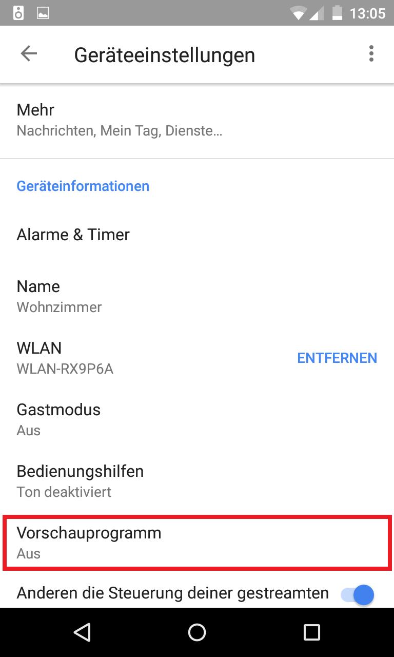 Schritt 4: Google Home Vorschauprogramm aktivieren