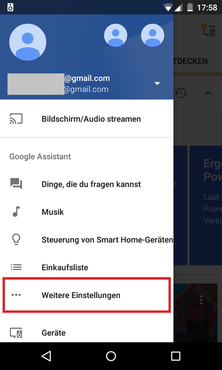 Schritt 1: Google Home - Standardnachrichtendienst(e) festlegen