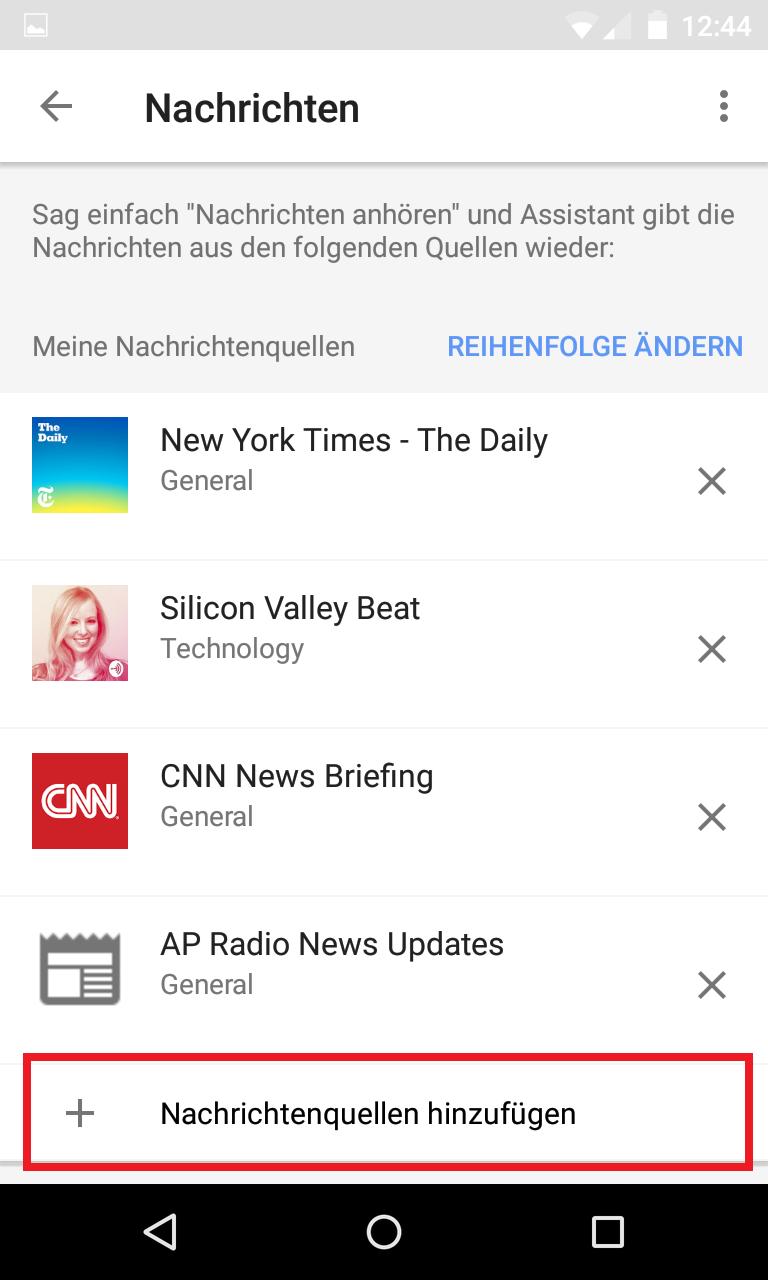 Schritt 3: Google Home - Standardnachrichtendienst(e) festlegen