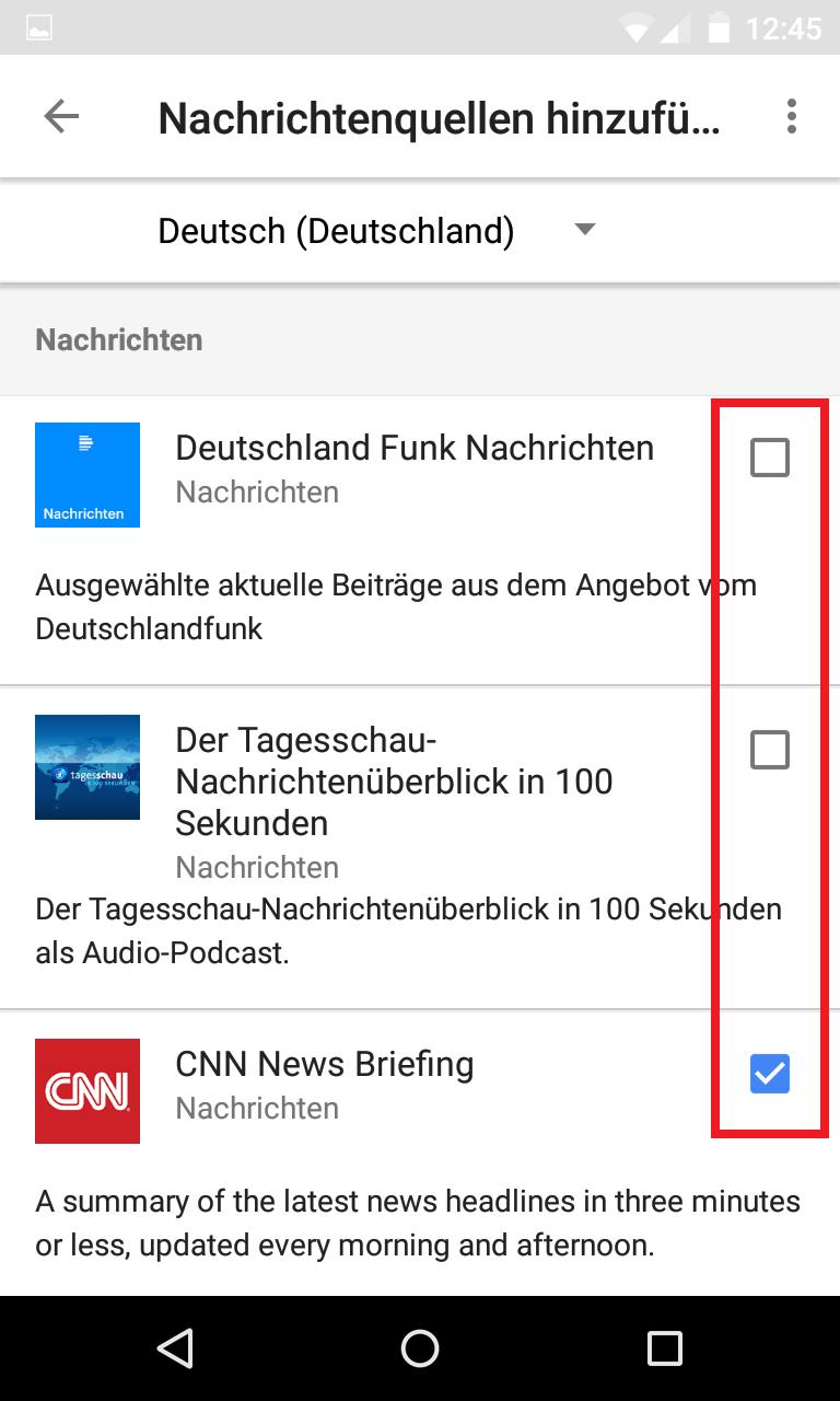 Schritt 4: Google Home - Standardnachrichtendienst(e) festlegen