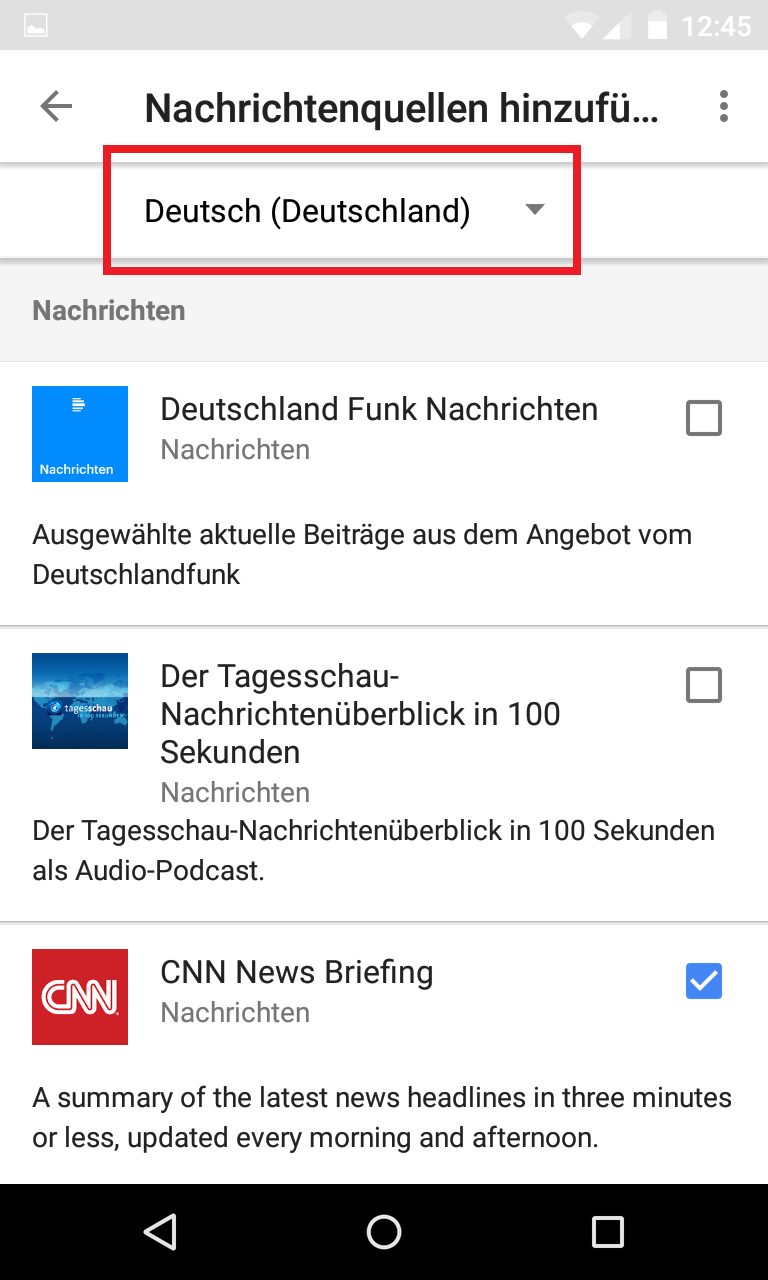 Schritt 5: Google Home - Standardnachrichtendienst(e) festlegen