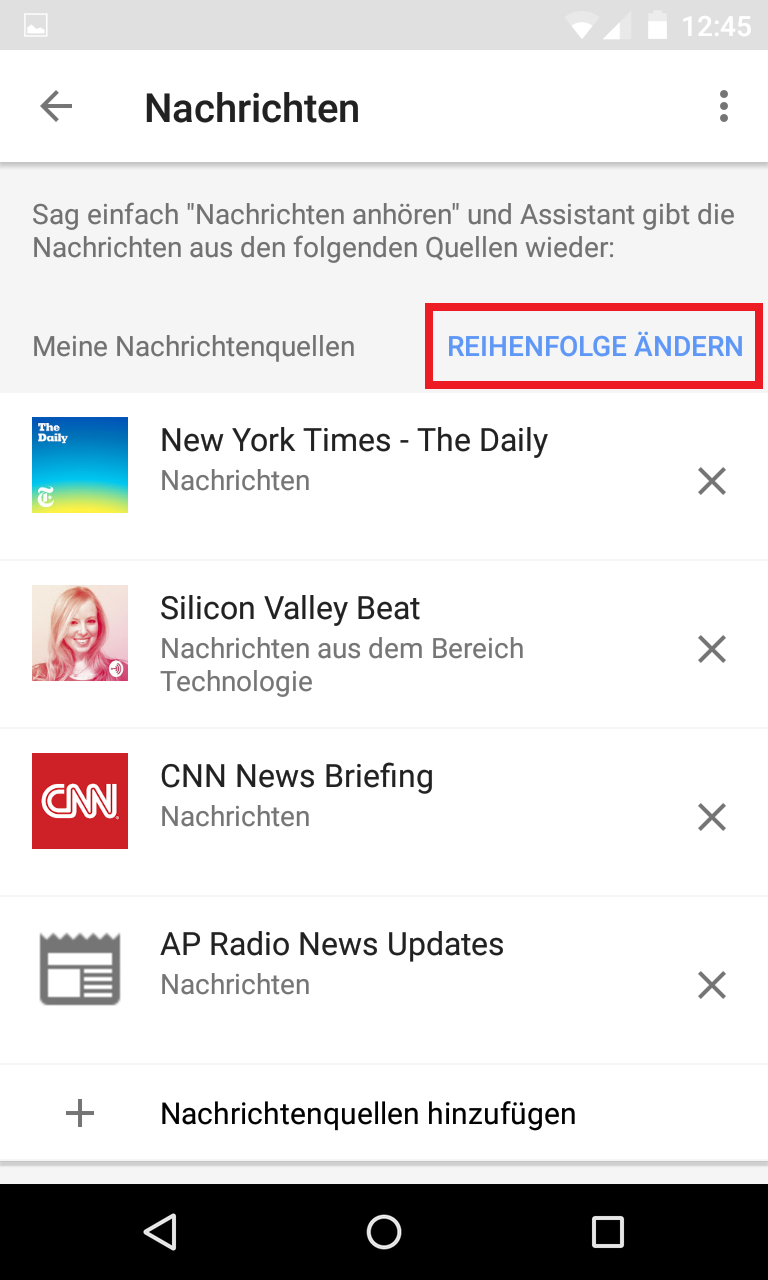 Schritt 6: Google Home - Standardnachrichtendienst(e) festlegen