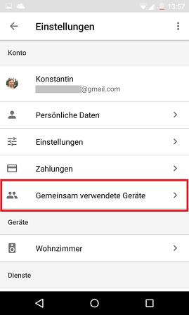 Schritt 2: Google Assistant: Multi-User-Unterstützung