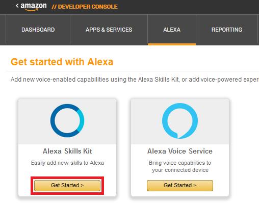 Alexa Skill erstellen: Developer Console > Alexa > Get Started