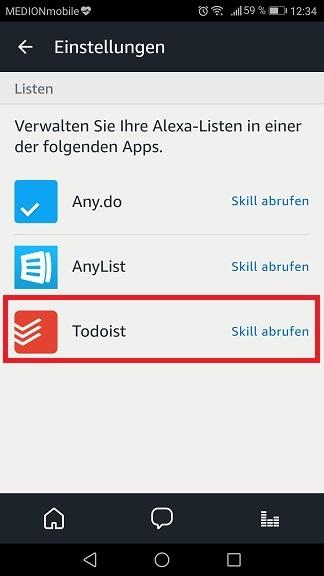 Schritt 3: Todoist mit Alexa verbinden