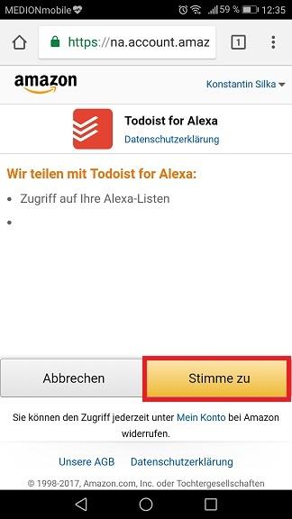 Schritt 6: Todoist mit Alexa verbinden