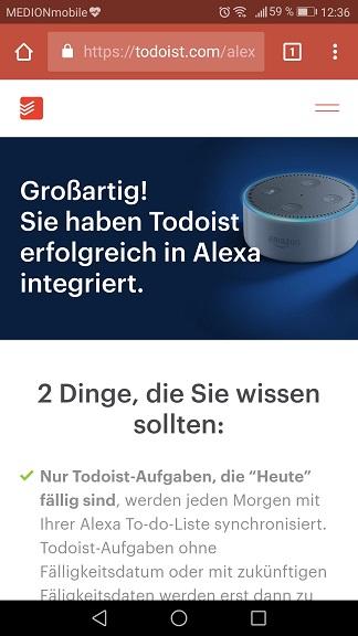 Schritt 8: Todoist mit Alexa verbinden