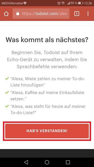 Schritt 9: Todoist mit Alexa verbinden