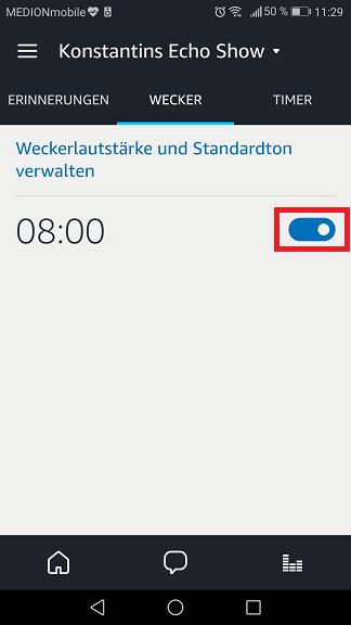 Schritt 2: Alexa Wecker ausstellen/ löschen