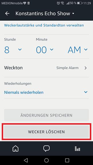 Schritt 3: Alexa Wecker ausstellen/ löschen