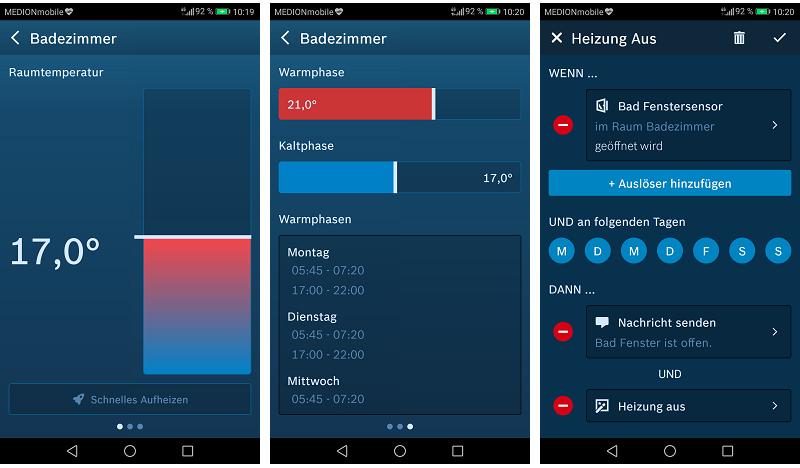 Bosch Smart Home Heizkörperthermostat App: Funktionen