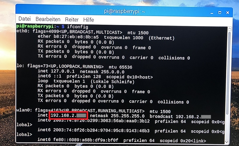 Raspberry Pi IP-Adresse herausfinden (ifconfig) Konsole