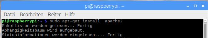 Raspberry Pi: Apache installieren - Befehl