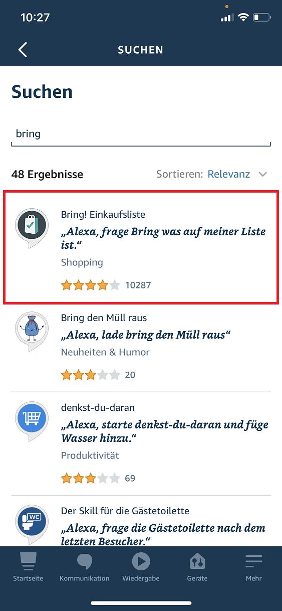 Schritt 2: Bring! Einkaufsliste mit Alexa verbinden