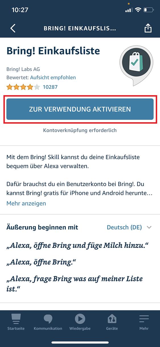 Schritt 3: Bring! Einkaufsliste mit Alexa verbinden
