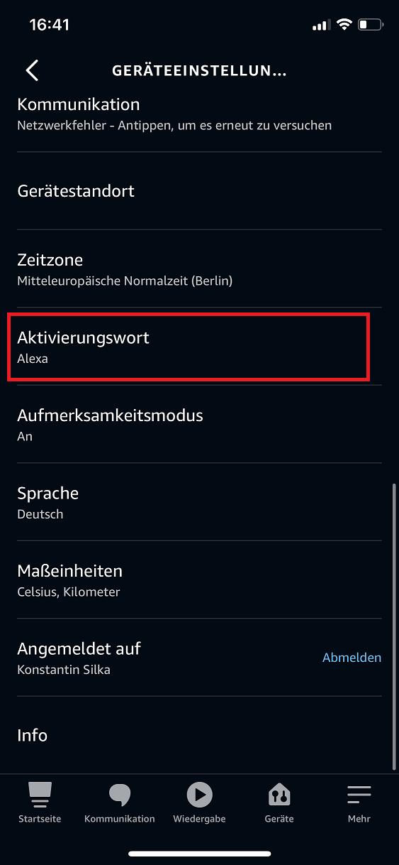 Schritt 3: Alexa Aktivierungswort ändern