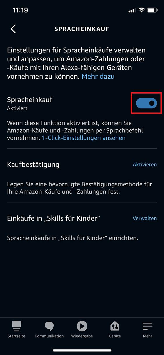 Schritt 3: Alexa Spracheinkauf deaktivieren | aktivieren