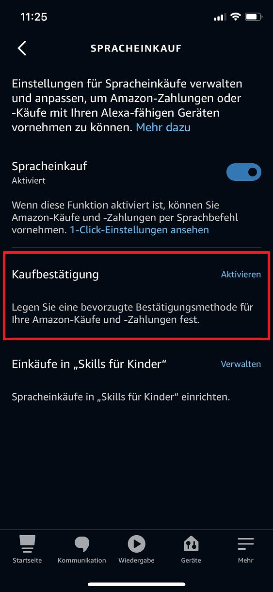 Schritt 1: Alexa Spracheinkauf verwalten